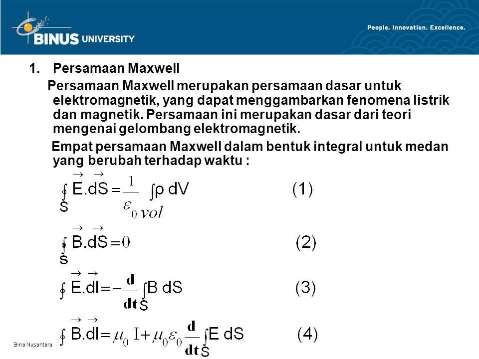Bina Nusantara 1.Persamaan Maxwell Persamaan Maxwell merupakan persamaan dasar untuk elektromagnetik, yang dapat menggambarkan fenomena listrik dan ma