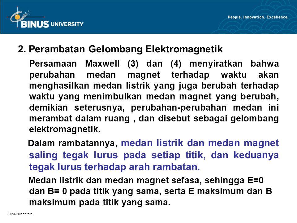 Bina Nusantara 2. Perambatan Gelombang Elektromagnetik Persamaan Maxwell (3) dan (4) menyiratkan bahwa perubahan medan magnet terhadap waktu akan meng