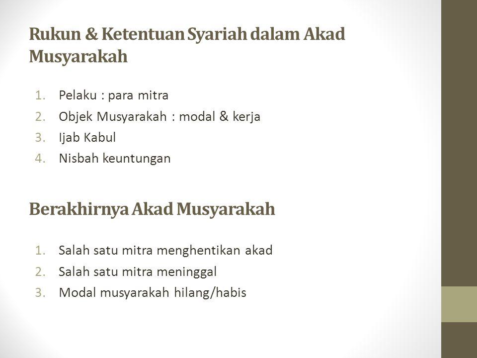 Rukun & Ketentuan Syariah dalam Akad Musyarakah 1.Pelaku : para mitra 2.Objek Musyarakah : modal & kerja 3.Ijab Kabul 4.Nisbah keuntungan Berakhirnya Akad Musyarakah 1.Salah satu mitra menghentikan akad 2.Salah satu mitra meninggal 3.Modal musyarakah hilang/habis