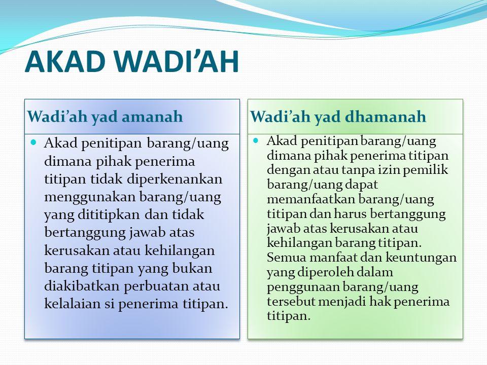 AKAD WADI'AH Wadi'ah yad amanah Wadi'ah yad dhamanah Akad penitipan barang/uang dimana pihak penerima titipan tidak diperkenankan menggunakan barang/u