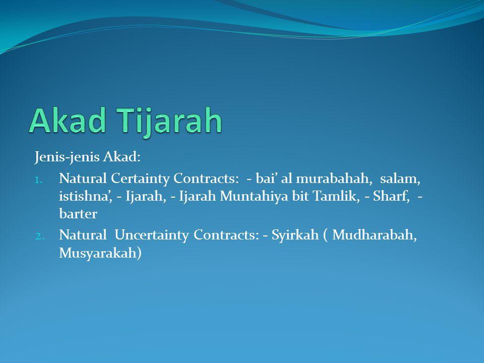 Jenis-jenis Akad: 1. Natural Certainty Contracts: - bai' al murabahah, salam, istishna', - Ijarah, - Ijarah Muntahiya bit Tamlik, - Sharf, - barter 2.