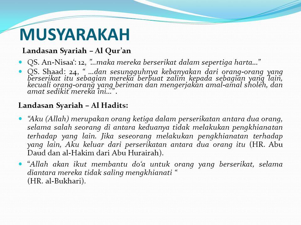 """MUSYARAKAH Landasan Syariah – Al Qur'an QS. An-Nisaa': 12, """"…maka mereka berserikat dalam sepertiga harta…"""" QS. Shaad: 24, """" …dan sesungguhnya kebanya"""