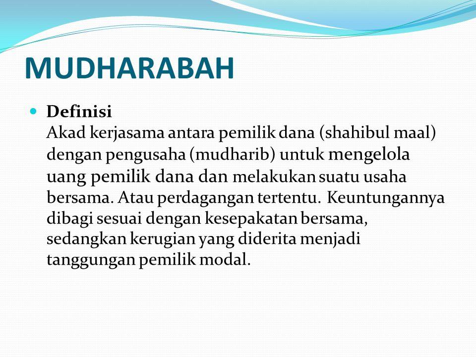 MUDHARABAH Definisi Akad kerjasama antara pemilik dana (shahibul maal) dengan pengusaha (mudharib) untuk mengelola uang pemilik dana dan melakukan sua