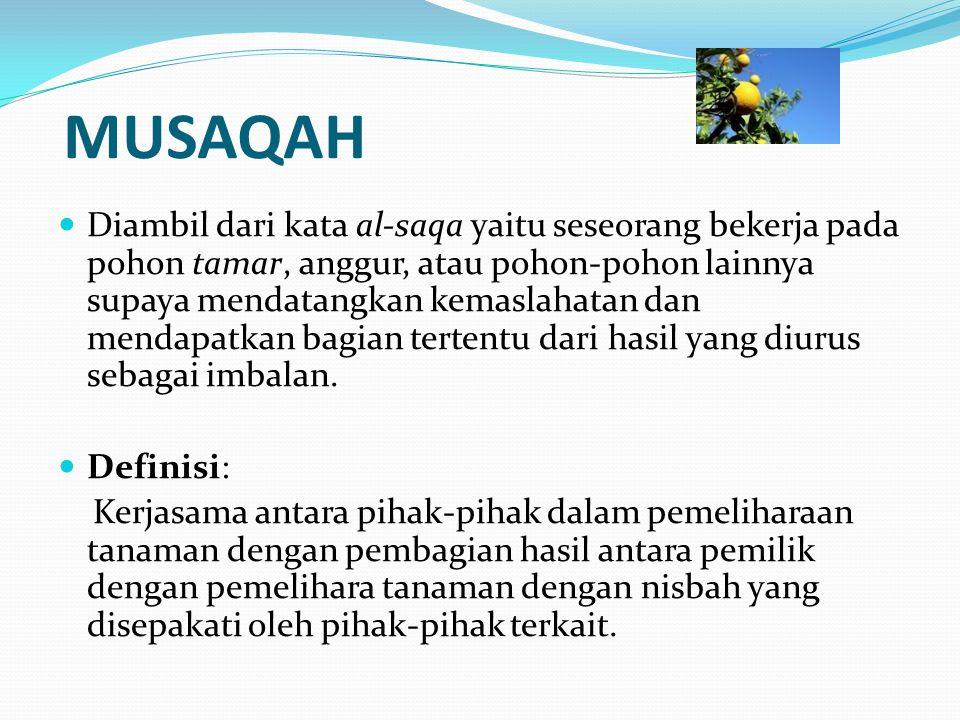 MUSAQAH Diambil dari kata al-saqa yaitu seseorang bekerja pada pohon tamar, anggur, atau pohon-pohon lainnya supaya mendatangkan kemaslahatan dan mend