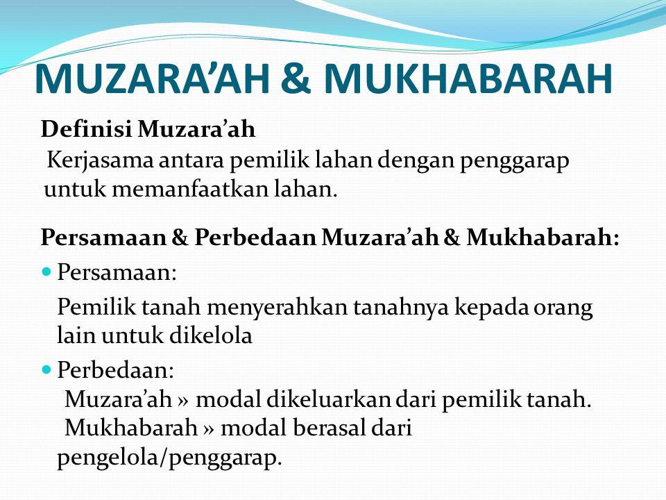 MUZARA'AH & MUKHABARAH Definisi Muzara'ah Kerjasama antara pemilik lahan dengan penggarap untuk memanfaatkan lahan. Persamaan & Perbedaan Muzara'ah &