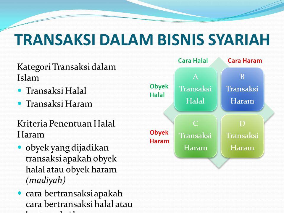 TRANSAKSI DALAM BISNIS SYARIAH Kategori Transaksi dalam Islam Transaksi Halal Transaksi Haram Kriteria Penentuan Halal Haram obyek yang dijadikan tran