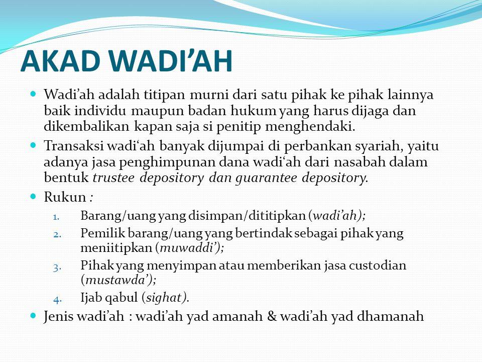 AKAD WADI'AH Wadi'ah adalah titipan murni dari satu pihak ke pihak lainnya baik individu maupun badan hukum yang harus dijaga dan dikembalikan kapan s