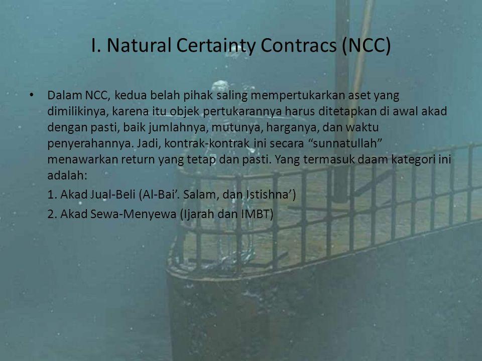 I. Natural Certainty Contracs (NCC) Dalam NCC, kedua belah pihak saling mempertukarkan aset yang dimilikinya, karena itu objek pertukarannya harus dit