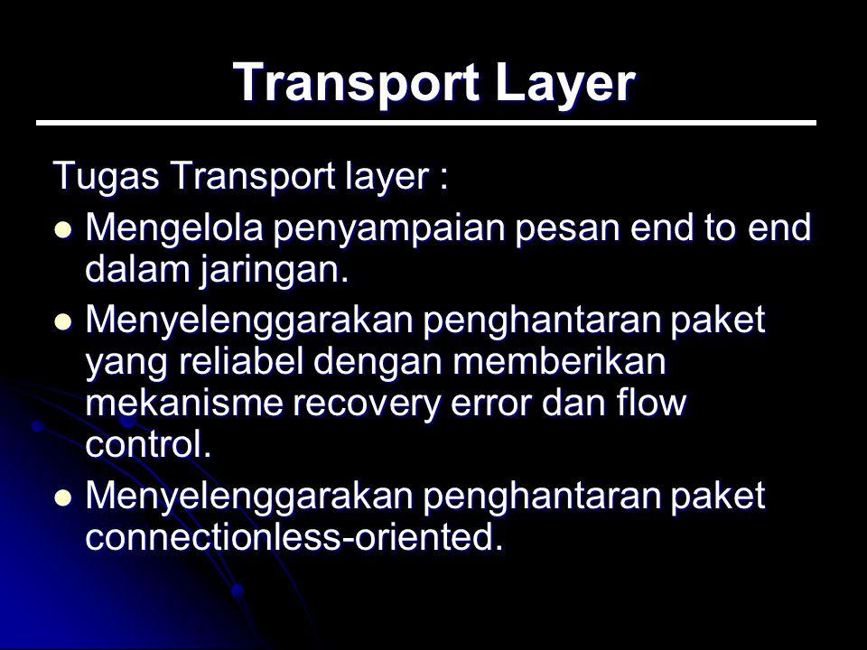 Transport Layer Tugas Transport layer : Mengelola penyampaian pesan end to end dalam jaringan. Mengelola penyampaian pesan end to end dalam jaringan.