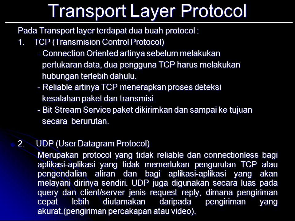 Addresing Pada Transport Layer Transport address berbeda dengan Network Address.