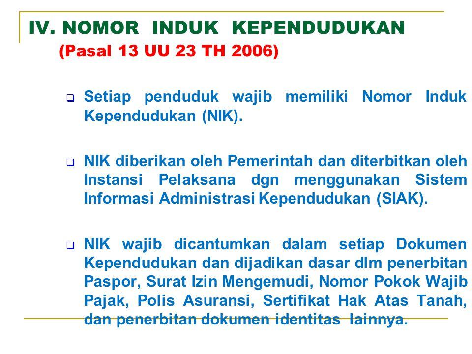 III. BAGAN ALUR ADMINDUK DATABASE KEPENDUDUKAN (1) DATABASE KEPENDUDUKAN (1) DAFDUK 1.Pencatatan Biodata Penduduk dan Penerbitan NIK 2.Pencatatan atas