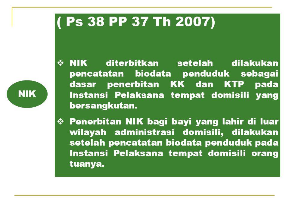IV. NOMOR INDUK KEPENDUDUKAN (Pasal 13 UU 23 TH 2006)  Setiap penduduk wajib memiliki Nomor Induk Kependudukan (NIK).  NIK diberikan oleh Pemerintah
