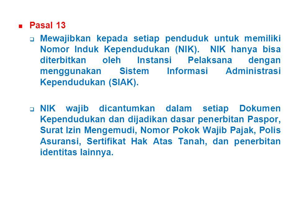 Pasal 13  Mewajibkan kepada setiap penduduk untuk memiliki Nomor Induk Kependudukan (NIK).