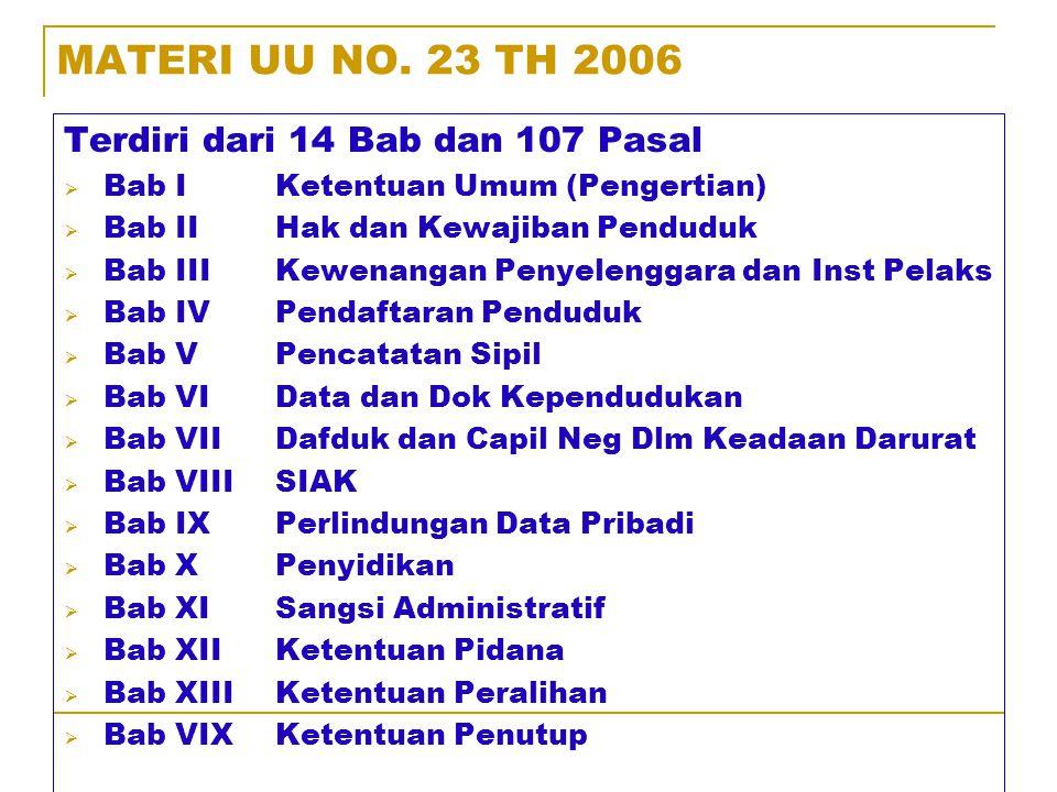 I. DASAR HUKUM 1.UU No. 23 tahun 2006 Tentang Administrasi Kependudukan yang disahkan pada tanggal 29 Desember 2006. 2.PP No. 37 Tahun 2007 Tentang Pe