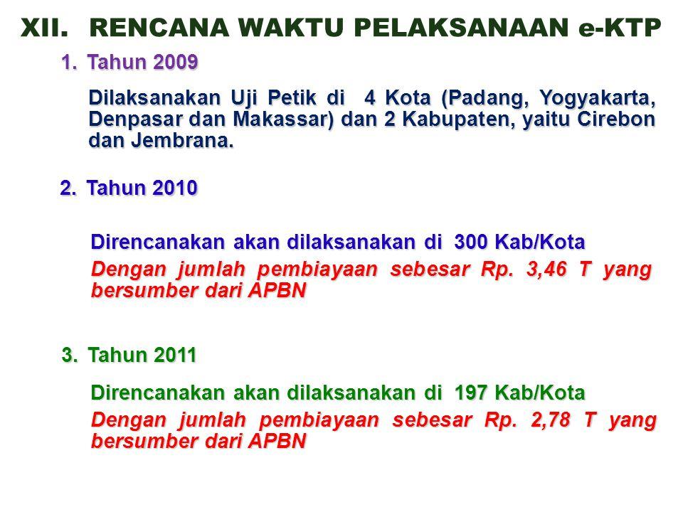XII.RENCANA WAKTU PELAKSANAAN e-KTP 1.Tahun 2009 Dilaksanakan Uji Petik di 4 Kota (Padang, Yogyakarta, Denpasar dan Makassar) dan 2 Kabupaten, yaitu Cirebon dan Jembrana.