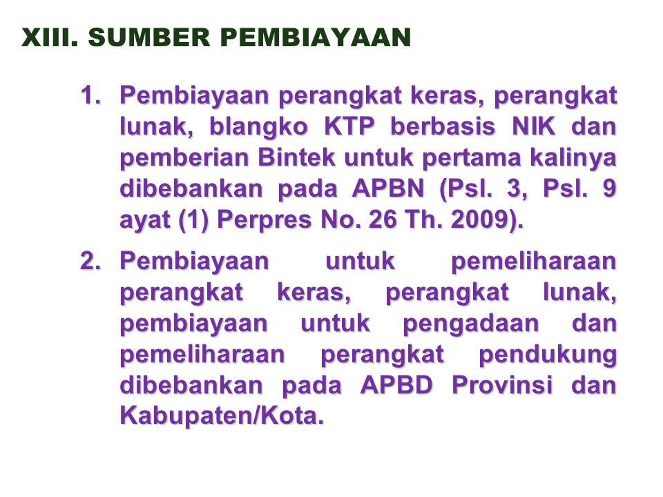 XIII.SUMBER PEMBIAYAAN 1.Pembiayaan perangkat keras, perangkat lunak, blangko KTP berbasis NIK dan pemberian Bintek untuk pertama kalinya dibebankan pada APBN (Psl.