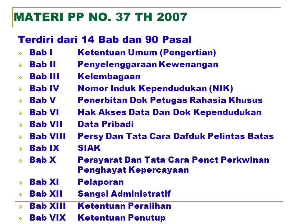 MATERI UU NO. 23 TH 2006 Terdiri dari 14 Bab dan 107 Pasal  Bab IKetentuan Umum (Pengertian)  Bab IIHak dan Kewajiban Penduduk  Bab IIIKewenangan P