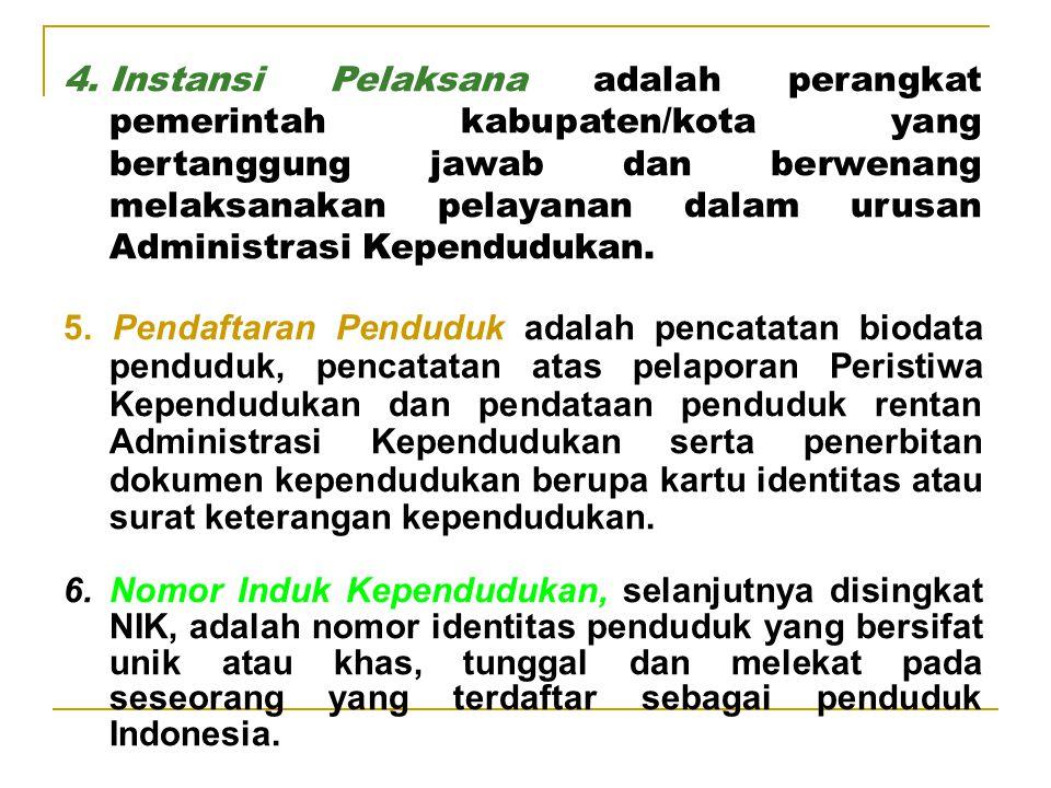 II. PENGERTIAN 1.Administrasi Kependudukan adalah rangkaian kegiatan penataan dan penertiban dalam penerbitan dokumen dan data kependudukan melalui pe