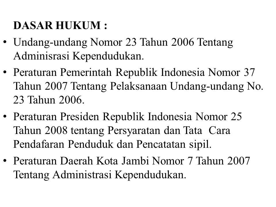 DASAR HUKUM : Undang-undang Nomor 23 Tahun 2006 Tentang Adminisrasi Kependudukan. Peraturan Pemerintah Republik Indonesia Nomor 37 Tahun 2007 Tentang