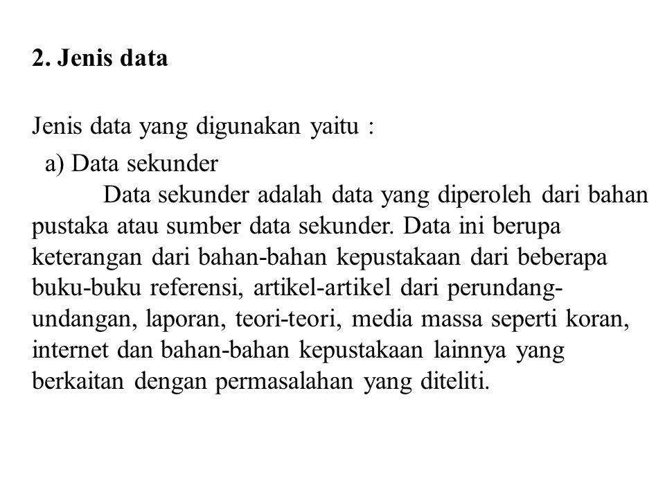 2. Jenis data Jenis data yang digunakan yaitu : a) Data sekunder Data sekunder adalah data yang diperoleh dari bahan pustaka atau sumber data sekunder