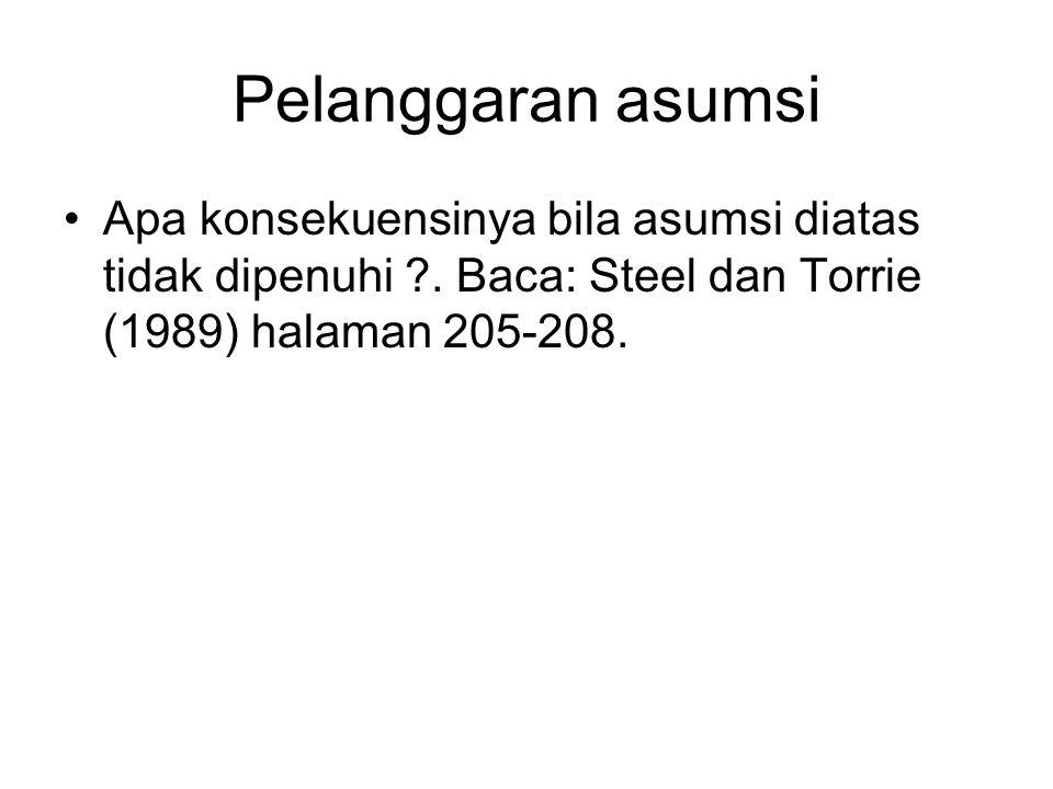 Pelanggaran asumsi Apa konsekuensinya bila asumsi diatas tidak dipenuhi ?. Baca: Steel dan Torrie (1989) halaman 205-208.