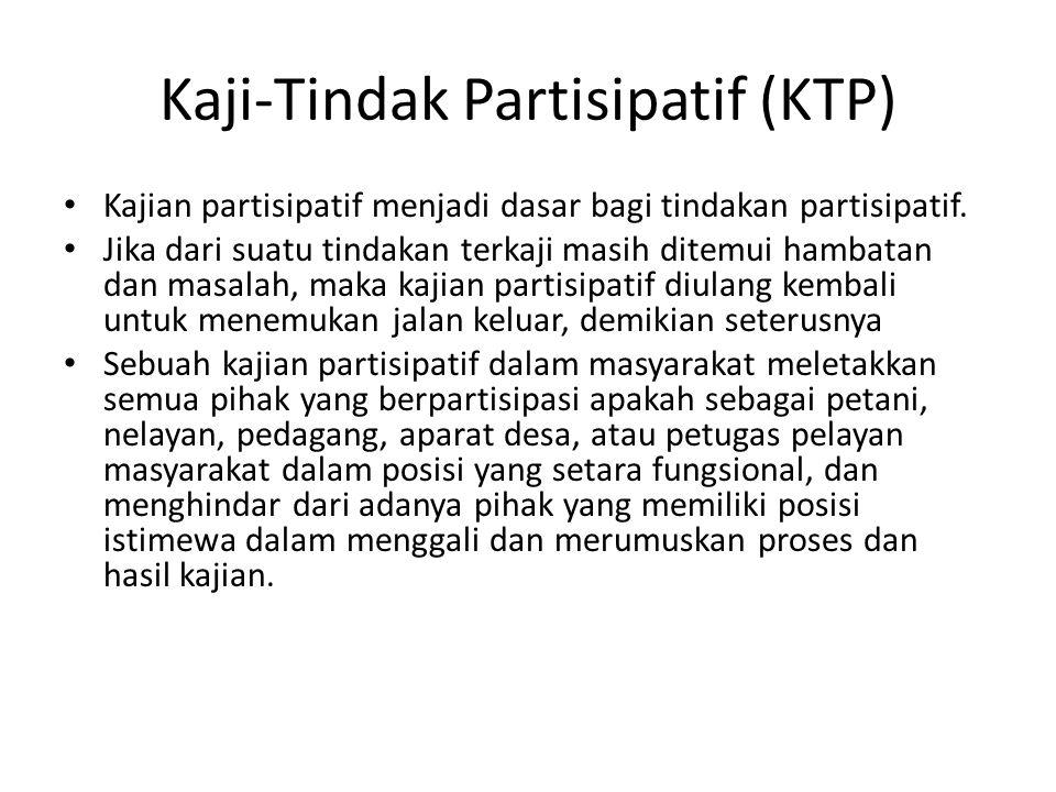 Kaji-Tindak Partisipatif (KTP) Kajian partisipatif menjadi dasar bagi tindakan partisipatif.