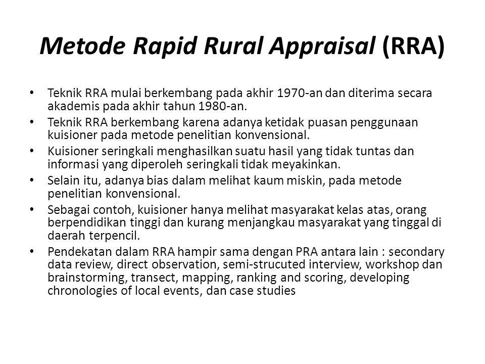 Metode Rapid Rural Appraisal (RRA) Teknik RRA mulai berkembang pada akhir 1970-an dan diterima secara akademis pada akhir tahun 1980-an.