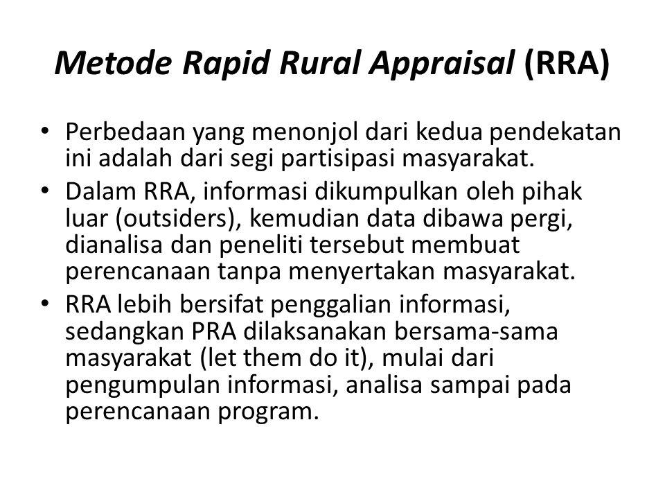 Metode Rapid Rural Appraisal (RRA) Perbedaan yang menonjol dari kedua pendekatan ini adalah dari segi partisipasi masyarakat.