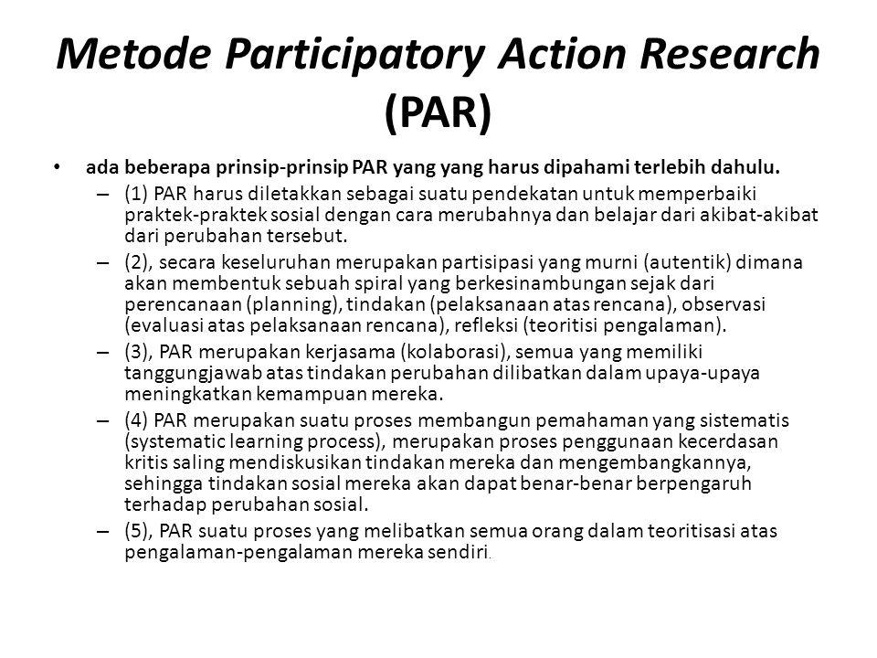 Metode Participatory Action Research (PAR) ada beberapa prinsip-prinsip PAR yang yang harus dipahami terlebih dahulu.