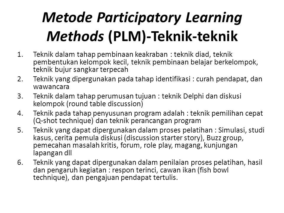 Metode Participatory Learning Methods (PLM)-Teknik-teknik 1.Teknik dalam tahap pembinaan keakraban : teknik diad, teknik pembentukan kelompok kecil, teknik pembinaan belajar berkelompok, teknik bujur sangkar terpecah 2.Teknik yang dipergunakan pada tahap identifikasi : curah pendapat, dan wawancara 3.Teknik dalam tahap perumusan tujuan : teknik Delphi dan diskusi kelompok (round table discussion) 4.Teknik pada tahap penyusunan program adalah : teknik pemilihan cepat (Q-shot technique) dan teknik perancangan program 5.Teknik yang dapat dipergunakan dalam proses pelatihan : Simulasi, studi kasus, cerita pemula diskusi (discussion starter story), Buzz group, pemecahan masalah kritis, forum, role play, magang, kunjungan lapangan dll 6.Teknik yang dapat dipergunakan dalam penilaian proses pelatihan, hasil dan pengaruh kegiatan : respon terinci, cawan ikan (fish bowl technique), dan pengajuan pendapat tertulis.