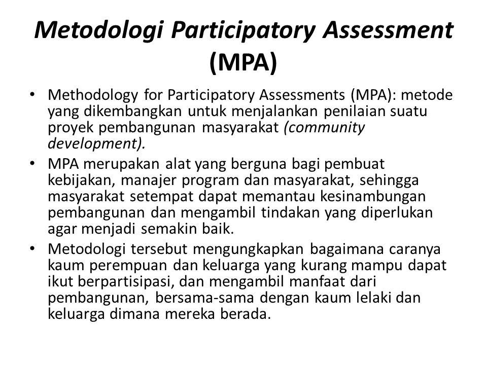 Metodologi Participatory Assessment (MPA) Methodology for Participatory Assessments (MPA): metode yang dikembangkan untuk menjalankan penilaian suatu proyek pembangunan masyarakat (community development).