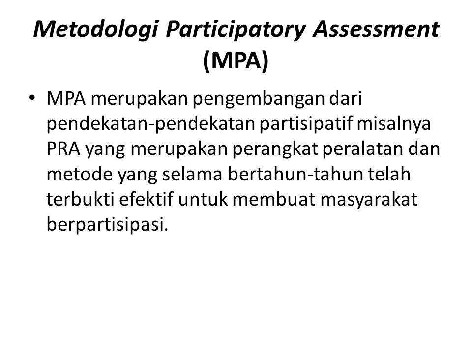Metodologi Participatory Assessment (MPA) MPA merupakan pengembangan dari pendekatan-pendekatan partisipatif misalnya PRA yang merupakan perangkat peralatan dan metode yang selama bertahun-tahun telah terbukti efektif untuk membuat masyarakat berpartisipasi.