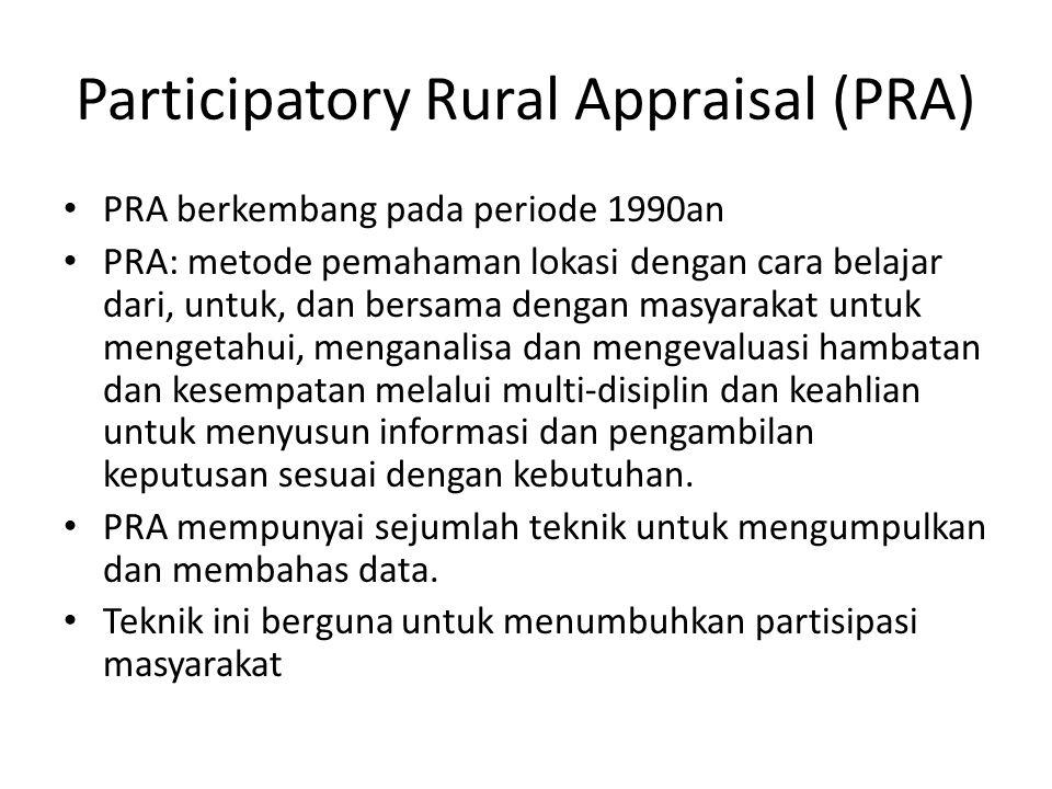 Participatory Rural Appraisal (PRA) PRA berkembang pada periode 1990an PRA: metode pemahaman lokasi dengan cara belajar dari, untuk, dan bersama dengan masyarakat untuk mengetahui, menganalisa dan mengevaluasi hambatan dan kesempatan melalui multi-disiplin dan keahlian untuk menyusun informasi dan pengambilan keputusan sesuai dengan kebutuhan.