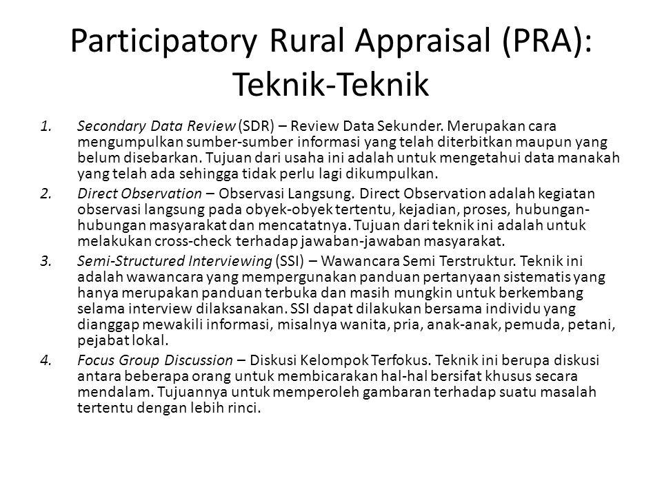 Participatory Rural Appraisal (PRA): Teknik-Teknik 1.Secondary Data Review (SDR) – Review Data Sekunder.