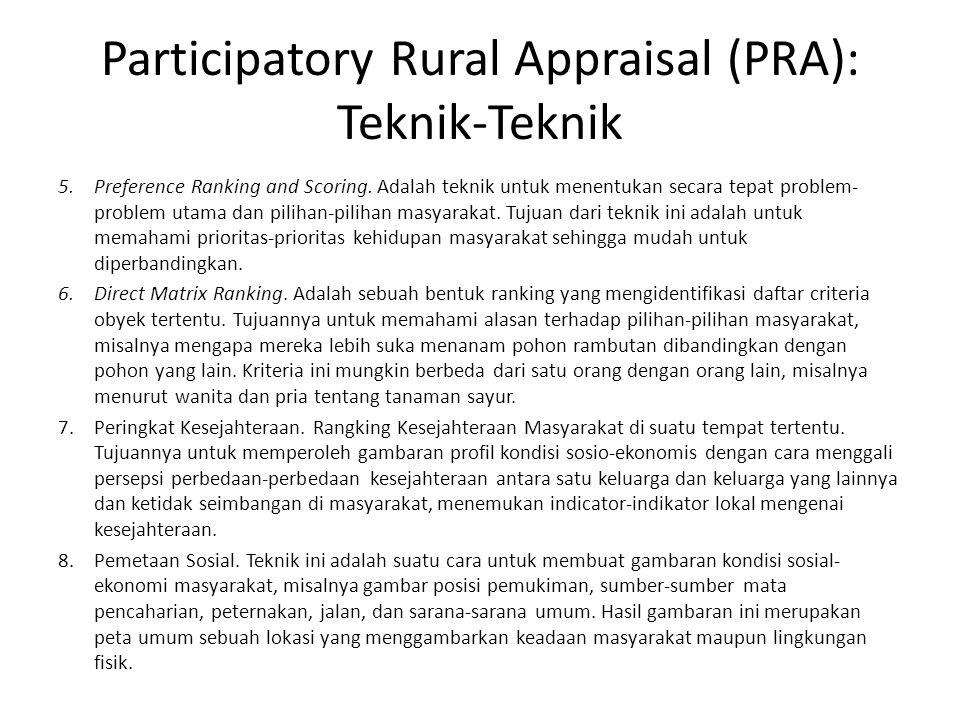 Participatory Rural Appraisal (PRA): Teknik-Teknik 5.Preference Ranking and Scoring.