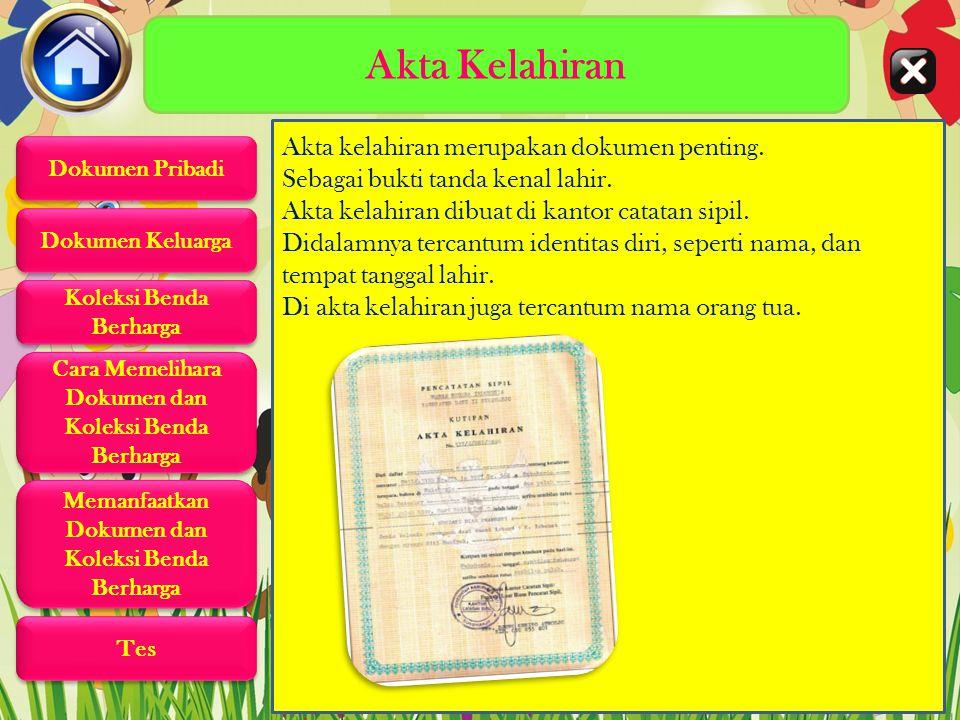 Dokumen Pribadi Dokumen adalah surat penting yang berisi keterangan yang harus disimpan dan dirawat dengan baik. Dokumen diri adalah dokumen milik dir