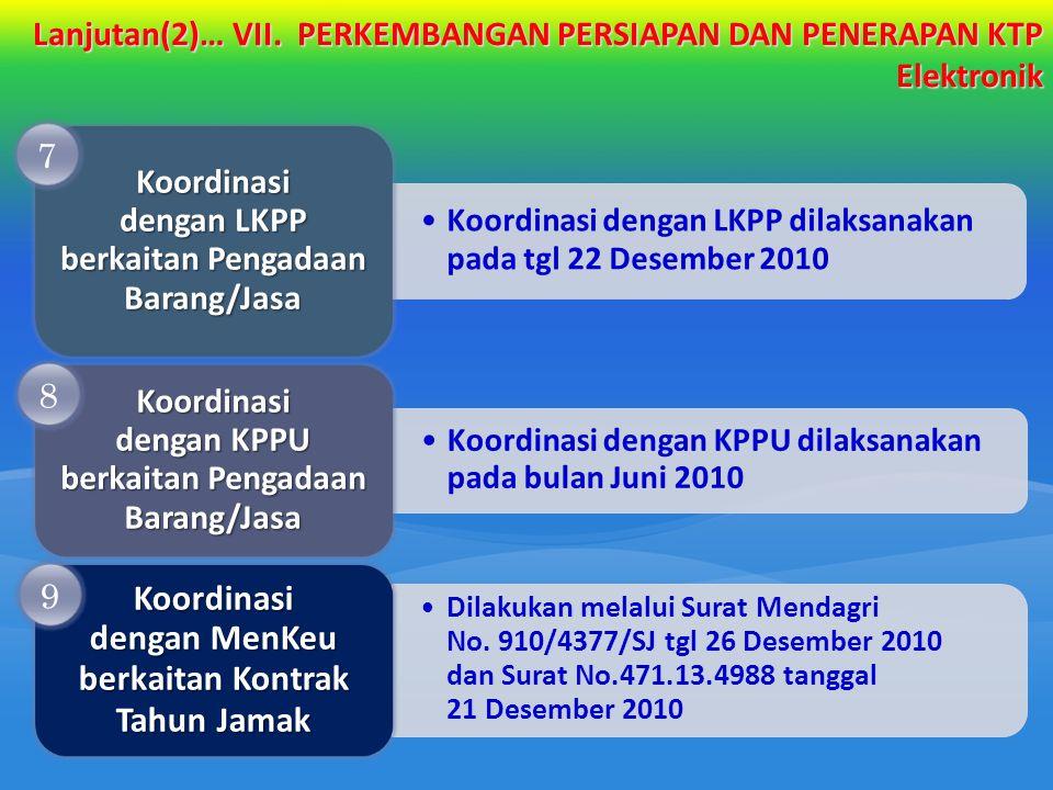Koordinasi dengan LKPP dilaksanakan pada tgl 22 Desember 2010 Koordinasi dengan LKPP berkaitan Pengadaan Barang/Jasa Koordinasi dengan KPPU dilaksanak