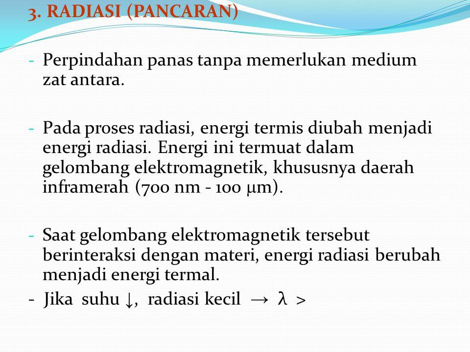 3. RADIASI (PANCARAN) - Perpindahan panas tanpa memerlukan medium zat antara. - Pada proses radiasi, energi termis diubah menjadi energi radiasi. Ener