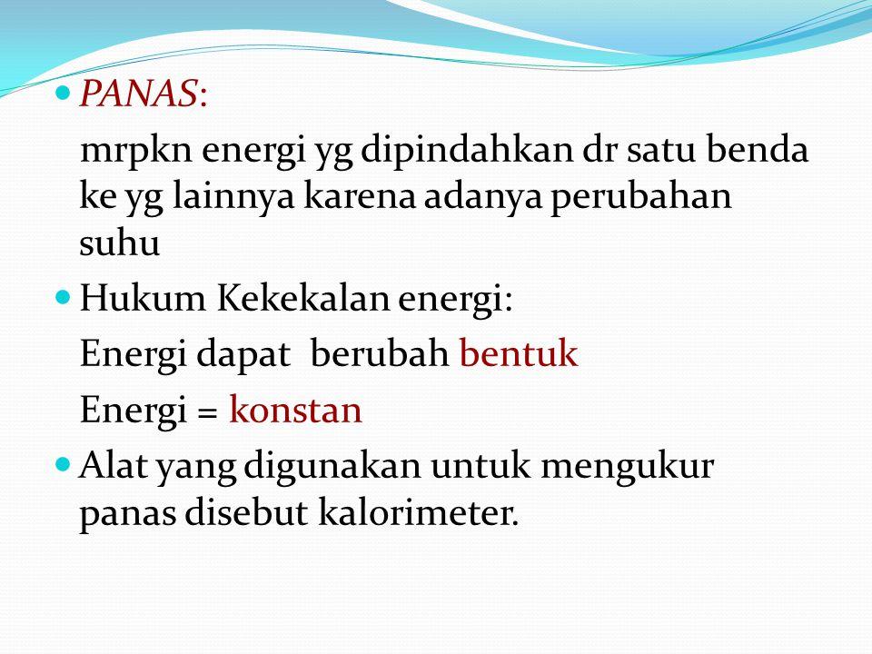 PANAS: mrpkn energi yg dipindahkan dr satu benda ke yg lainnya karena adanya perubahan suhu Hukum Kekekalan energi: Energi dapat berubah bentuk Energi