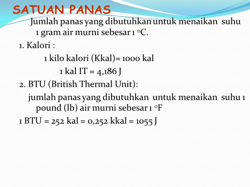 Panas jenis adalah: banyaknya panas yang diperlukan atau dilepaskan untuk me ↑ atau me ↓ suhu satu satuan massa zat itu sebesar satu satuan suhu.