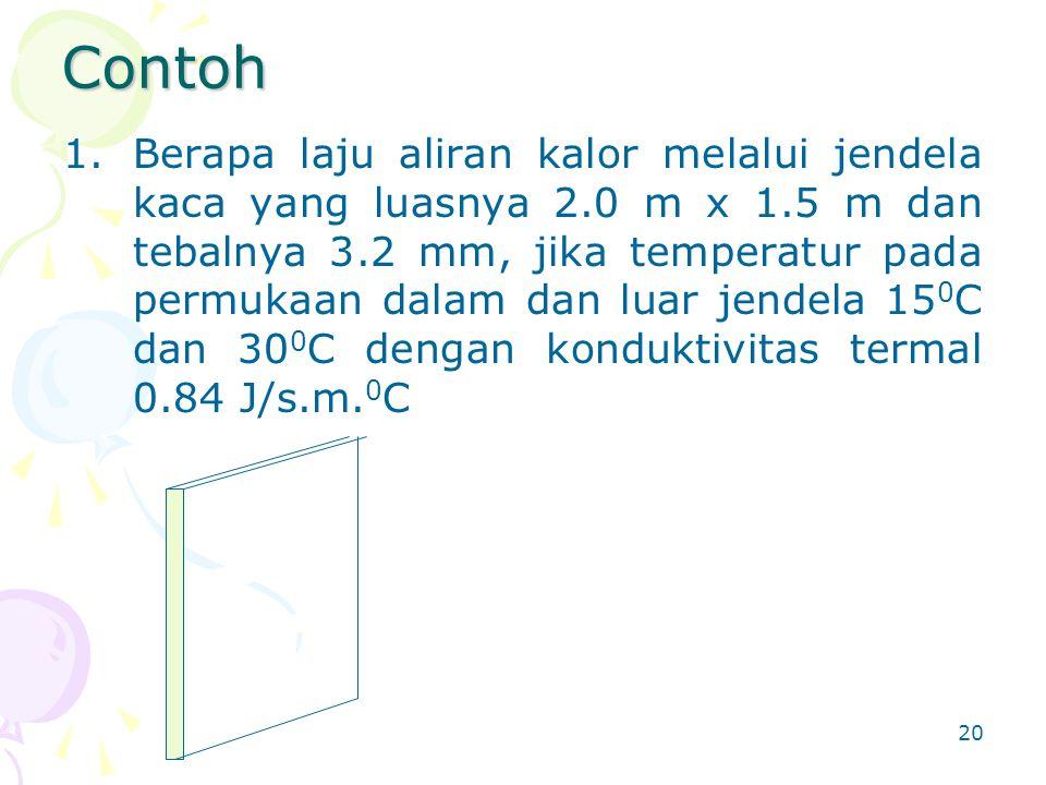 20 Contoh 1.Berapa laju aliran kalor melalui jendela kaca yang luasnya 2.0 m x 1.5 m dan tebalnya 3.2 mm, jika temperatur pada permukaan dalam dan lua