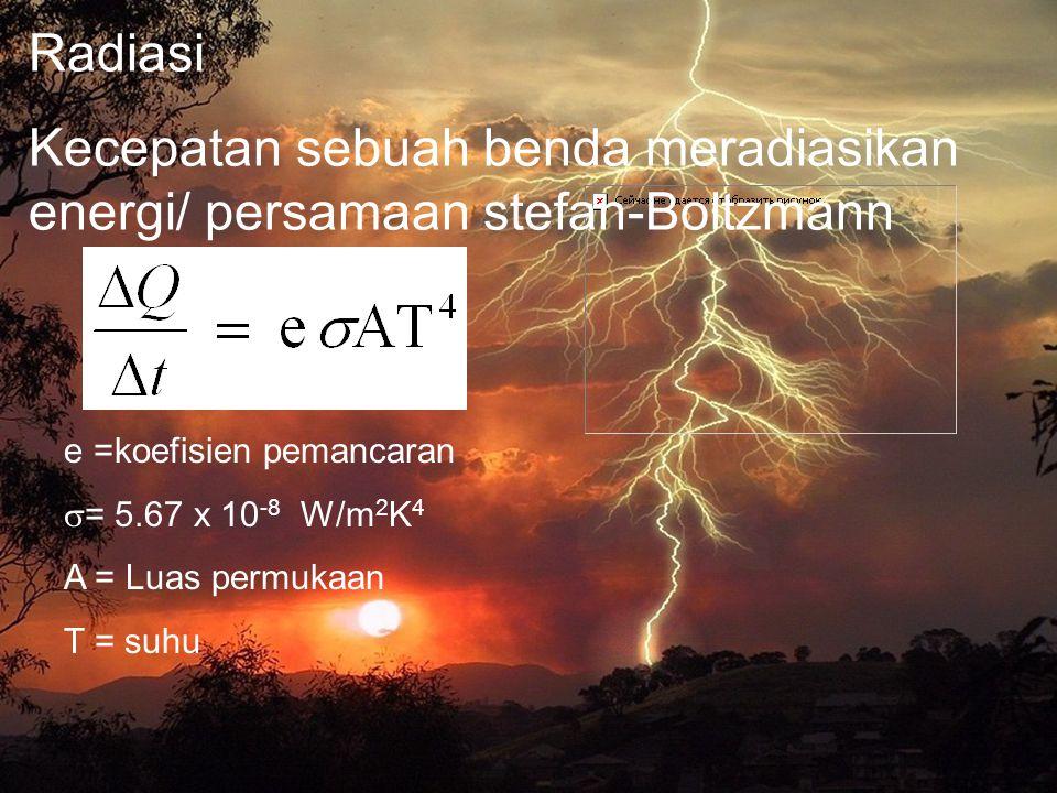 22 Radiasi Kecepatan sebuah benda meradiasikan energi/ persamaan stefan-Boltzmann e =koefisien pemancaran  = 5.67 x 10 -8 W/m 2 K 4 A = Luas permukaa