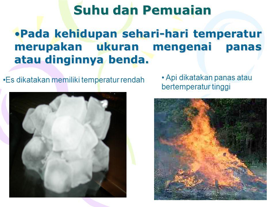 4 Suhu dan Pemuaian Pada kehidupan sehari-hari temperatur merupakan ukuran mengenai panas atau dinginnya benda.Pada kehidupan sehari-hari temperatur m