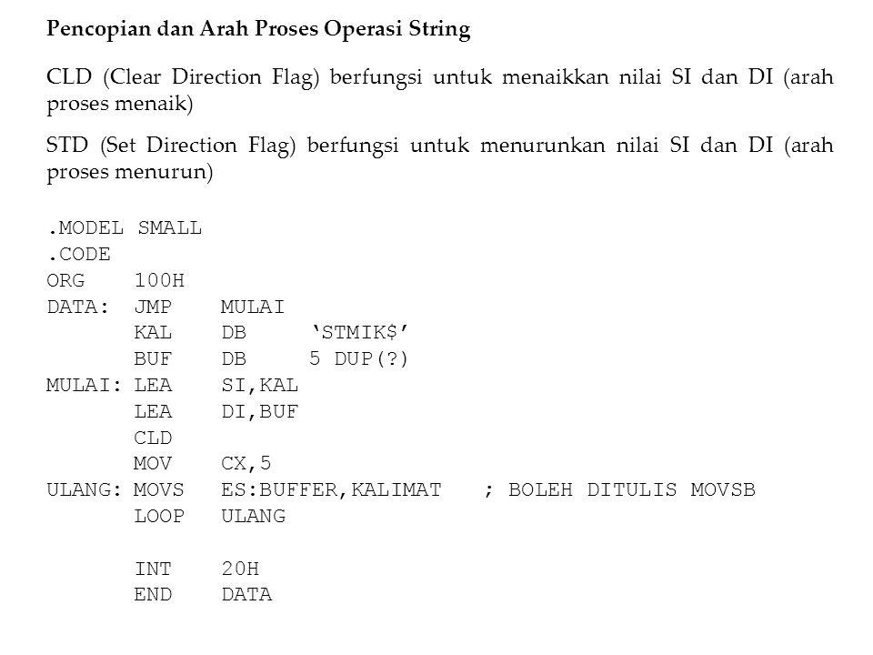 Pencopian dan Arah Proses Operasi String CLD (Clear Direction Flag) berfungsi untuk menaikkan nilai SI dan DI (arah proses menaik) STD (Set Direction