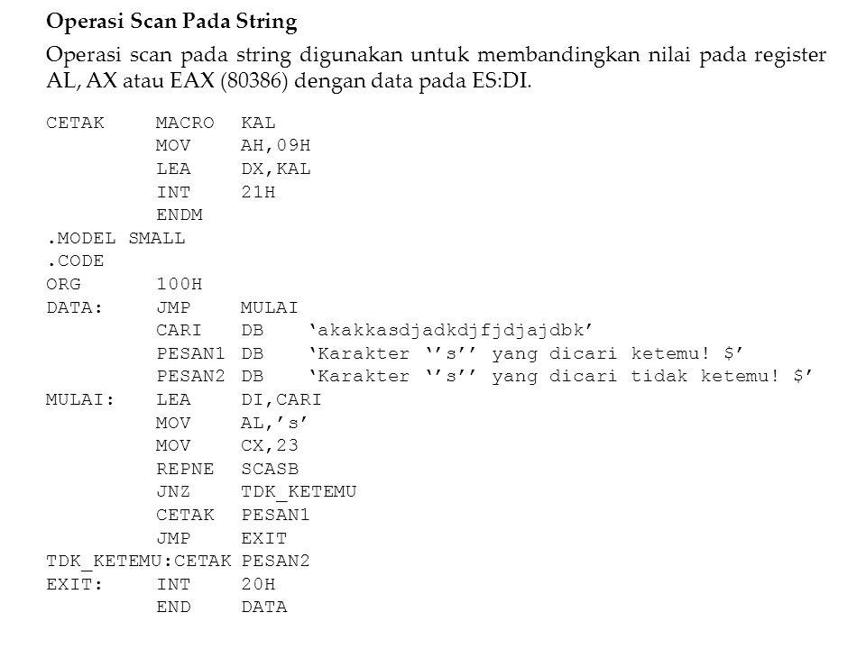 Operasi Scan Pada String Operasi scan pada string digunakan untuk membandingkan nilai pada register AL, AX atau EAX (80386) dengan data pada ES:DI. CE