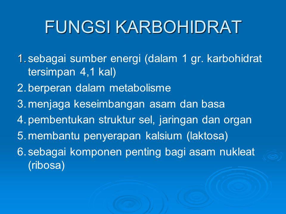 METABOLISME KARBOHIDRAT karbohidrat usus halus karbohidrat usus halus (sari makanan) (sari makanan) aliran darah (glukosa) aliran darah (glukosa) glikolisis glikolisis hati (glikogen) + otot + lemak hati (glikogen) + otot + lemak asam piruvat laktasidogen asam piruvat laktasidogen (untuk masuk siklus Kreb's) (untuk masuk siklus Kreb's) asam laktat asam laktat CO2 + H2O + ATP (Energi) CO2 + H2O + ATP (Energi)