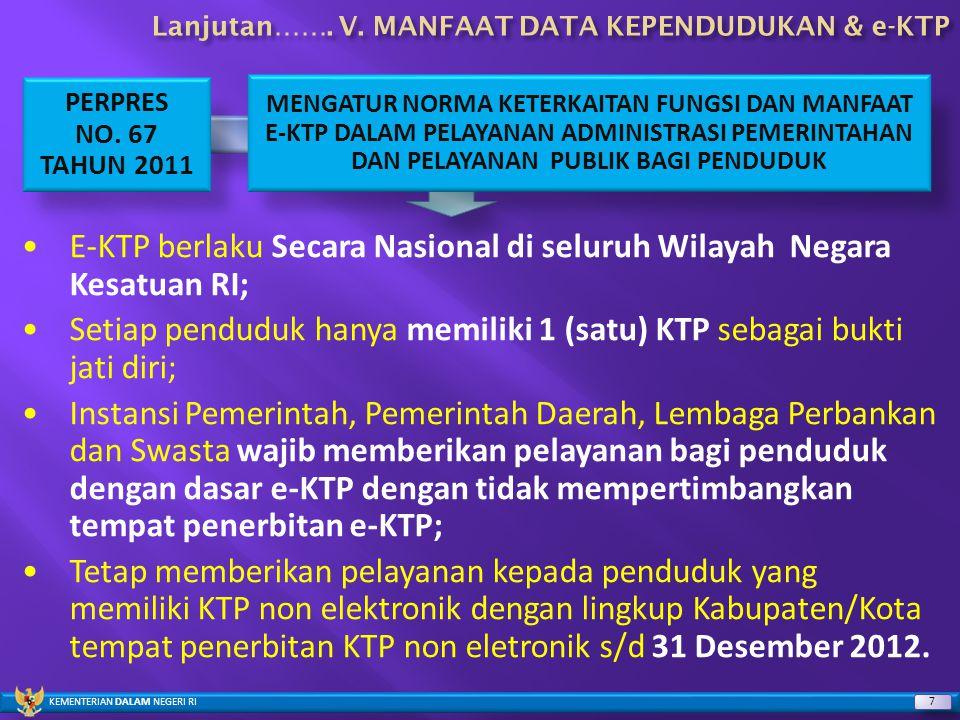 KEMENTERIAN DALAM NEGERI RI 7 7 PERPRES NO. 67 TAHUN 2011 MENGATUR NORMA KETERKAITAN FUNGSI DAN MANFAAT E-KTP DALAM PELAYANAN ADMINISTRASI PEMERINTAHA