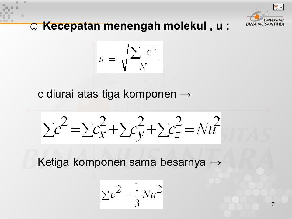 18 ☺ Jalan bebas pukul rata molekul-molekul, l : Jalan bebas pukul rata merupakan jarak pukul rata antara dua tumbukan molekul yang berurutan.