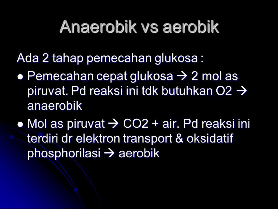 Anaerobik vs aerobik Ada 2 tahap pemecahan glukosa : Pemecahan cepat glukosa  2 mol as piruvat. Pd reaksi ini tdk butuhkan O2  anaerobik Pemecahan c