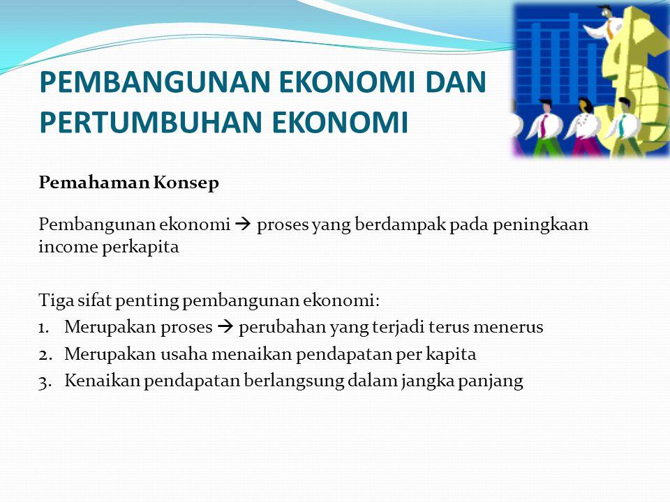 PEMBANGUNAN EKONOMI DAN PERTUMBUHAN EKONOMI Perbedaan pembangunan ekonomi (economic development) dengan pertumbuhan ekonomi (economic growth).